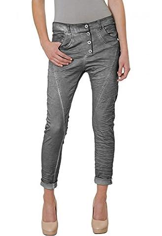 CASPAR KHS014 Damen Vintage Boyfriend Hose , Farbe:grau (vintage);Größe:36 S UK8 US6 (Damen Cargo-stil Jeans)