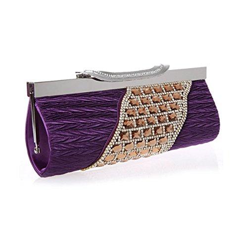 Strawberryer Europe Et Les Etats-Unis Longue Section Forfait De Diamant Mode Sac De Soir Banquet Décoration Main Clutch Portefeuille purple