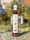 Bestes, kaltgepresstes Olivenöl Extra vergine mit Habanero Chili und Knoblauch aus Bronte, Sizilien 250m
