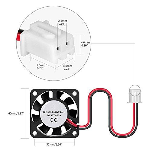 Leaning-Tech-Lot-de-4-Ventilateur-DC-12-V-Ventilateur-de-refroidissement-pour-imprimante-3D-Ventilateur-de-botier-brstenlos-3ddrucker-Ventilateur-lrmarmer-pour-7000-RPMmin-Noir-40-x-40-x-10-mm