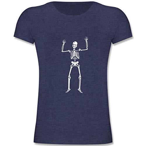 Anlässe Kinder - Skelett Skeleton - 116 (5-6 Jahre) - Dunkelblau Meliert - F131K - Mädchen Kinder T-Shirt