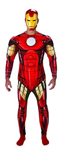 Halloweenia - Herren Männer Iron Man Deluxe Kostüm Kostüm aus Avengers Assemble mit Muskelpolster Einteiler Overall und Maske, perfekt für Karneval, Fasching und Fastnacht, XL, Rot