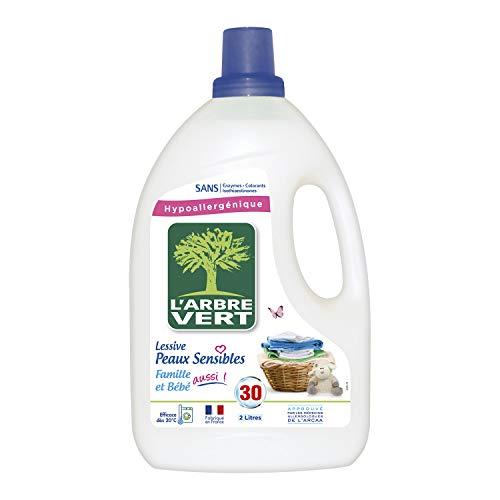 L'arbre vert Lessive Liquide pour Peau Sensible/Famille Hypoallergénique 30 Lavages 2 L - Lot de 2