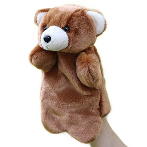 Plush Hand Puppets Animal Glove Doll Story Telling Puppets Bear (Brown)