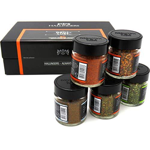 41Uywzm%2BPQL - Hallingers 5er Premium-Grill-Gewürze als Geschenk-Set (95g) - Grilllust (MiniDeluxe-Box) - zu Sommer Grillen Für Ihn