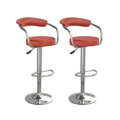 2 x TOLEDO FAUX LEATHER AND CHROME BAR KITCHEN STOOLS