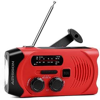 Multifunktion Outdoor Radio,Solar Kurbelradio für Notfälle,mit AM/FM & NOAA Wetter Radio, LED Taschenlampe, 2000mAh Eingebaute Batterie Power Bank,Notfall SOS Alarm(Rot )