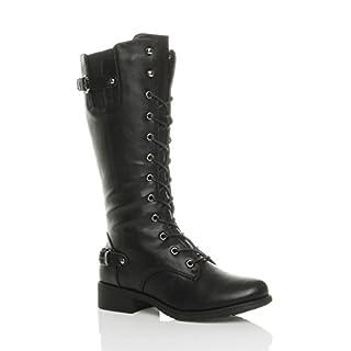 Ajvani Womens Ladies Low Heel Lace up Zip Biker Army Military Calf Boots Size 6 39