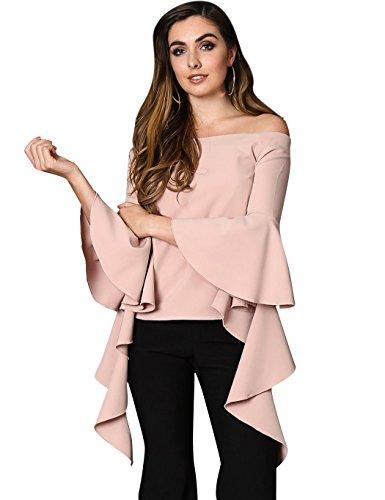 ZEARO Damen Elegant Schulterfrei Bluse Hemd T-shirt Top Oberteil Rosa
