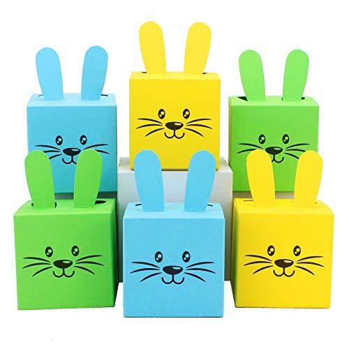Papierdrachen 12 Geschenkboxen im Osterhasen-Design - Kisten mit Ohren, Pompom und Gesicht - 7cm x 7cm - blau grün und gelb - Osternest für Jungen