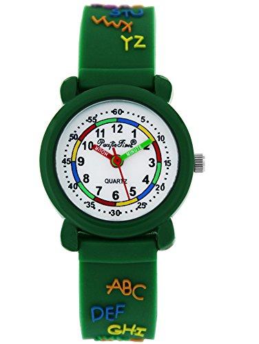 Pacific Time Kinder-Armbanduhr Mädchen Jungen Lernuhr ABC Silikon Armband analog Quarz grün 86295