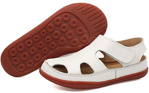 Gaatpot Unisex-Kinder Sandalen Mädchen Jungen Kindersandale Geschlossene Baby Sommer Leder Sandale Lauflernschuhe Schuhe Weiß 27.5 EU/27 CN
