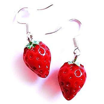 maxmuc Rote Erdbeer Edelstahl Ohrringe aus Resin Obst Ohrhänger 3,7cm