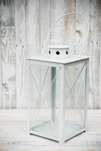KUHEIGA Stabile Stalllaterne Laterne Gartenlaterne Weiß Höhe: 40cm / 60cm