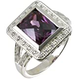 Silver CZ and Amethyst Cluster with CZ Shoulders Ladies Ring