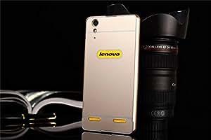 Luxury Aluminum Frame Acrylic Back Cover Case Bumper For Lenovo A6000 4G & A6000 Plus