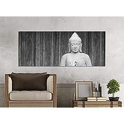 Cuadros en Lienzo 1tlg 100x40cm Negro Blanco Buda Figura Dios Asia Tailandia Lienzo Impresión Artística Wand Imágenes Vellón Mural Cuadro Lienzo Pared Impresión 9z1768-100x40cm