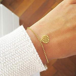 Lebensblume Armband Personalisiert 925er Silber Gold Roségold | Blume des Lebens Geschenk Weihnachten Adventskalender