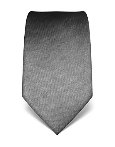 Vincenzo Boretti Herren Krawatte reine Seide uni einfarbig edel Männer-Design zum Hemd mit Anzug für Business Hochzeit 8 cm schmal/breit dunkelgrau