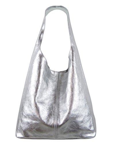 Freyday Damen Ledertasche Shopper Wildleder Handtasche Schultertasche Beuteltasche Metallic look (Silber Metallic)