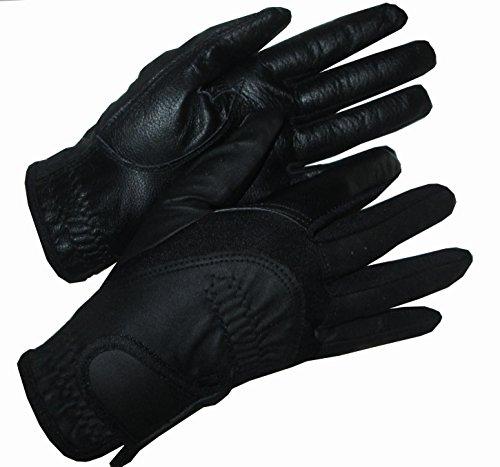 Palmo in pelle da donna, colore: nero-guanti da equitazione mani su misura