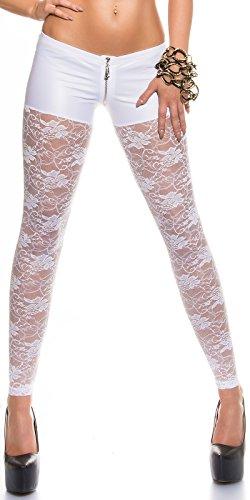 KouCla Leggings mit Spitze und Reißverschluss - Wetlook Pants Leggings mit Zip in versch. Farben S/M und M/L (LE50575C) (M-L, 1 Weiss)