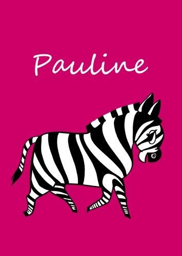 personalisiertes Malbuch / Notizbuch / Tagebuch - Pauline: Zebra - A4 - blanko