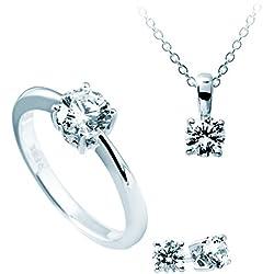 Damen-joyas Diamonfire collar + pendientes + anillo puiido 4 teiliges Set 925 plata rodiada con circonita Corte brillante blanco - 13/1202/1/917