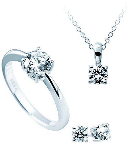 Diamonfire parure collana + orecchini + anello carati, set da 4pezzi in argento 925rodiato con zirconi taglio brillante bianco–13/1202/1/917