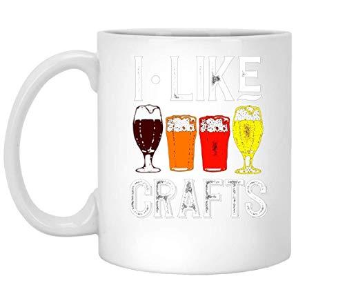 Nisdsgd I Like Crafts Funny Vintage Brewer Craft Beer Lover Mug, 11oz Ceramic Coffee Mug, Unique Gift 3.14W x 3.74H(8x9.5cm) -