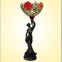 Dui Lijun 2016Statua della Libertà Liberty Rose lampada da comodino camera salotto proiettore handkolorierten lampada da tavolo in vetro - Roses Statua