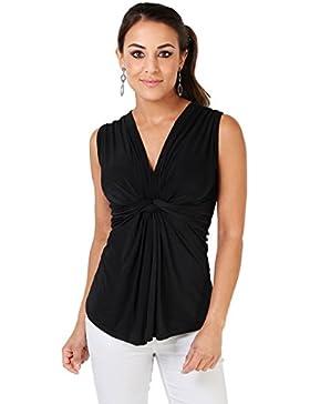 KRISP Top Mujer Fiesta Vestir Camiseta Tirantes Ajustado Elástico Escote Barata