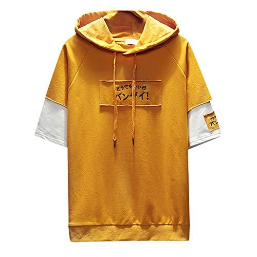 Crazboy Herren Sommer Mode Drucken Kapuzenpullover Lose T-Shirts Fälschung Zwei Halbe Ärmel Tops(Gelb-B,X-Large)