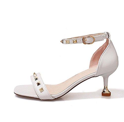 Signora con i tacchi alti sandali aperti scarpe fibbia parola White
