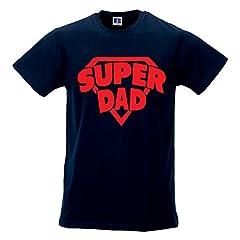 Idea Regalo - T-Shirt Maglia Uomo Maglietta Idea Regalo per Il Papa' Super Dad M Blu