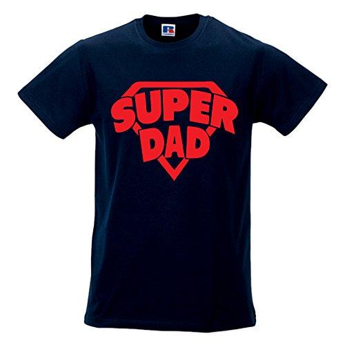 T-Shirt Maglia Uomo Maglietta Idea Regalo per Il Papa' Super Dad M Blu