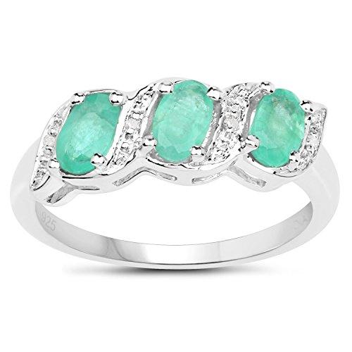 La Collection Bague en Diamants : Bague de Fiançailles authentique Emeraude et Diamants authentiques, Bague Éternité en Argent Taille Bague 58