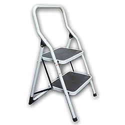 Trittleiter aus Metall, mit rutschfesten Stufen, Traglast 150 kg