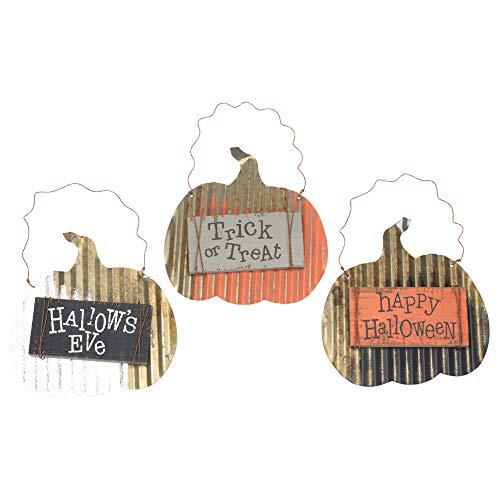 Hallow 's Eve Medley 8x 6Metall Holz Halloween Ornaments Set von 3 ()