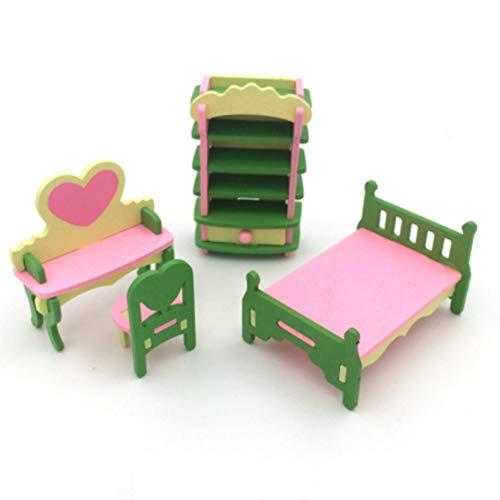 Holz Möbel Spielzeug Simulation Möbel Tisch Puppe Spielzeug Holz Puzzle Spielzeug Pädagogisches Pretend Playset Simuliert Hause Kinderspielzeug (Schlafzimmer, 4 Stücke)