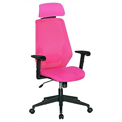 FineBuy SPACE | Bürostuhl mit gepolsteter Stoff-Sitzfläche | Schreibtischstuhl mit Rückenlehne | Drehstuhl ist höhenverstellbar | Drehsessel inkl. Synchromechanik & Kopfstütze | Jugendstuhl bis 120 kg