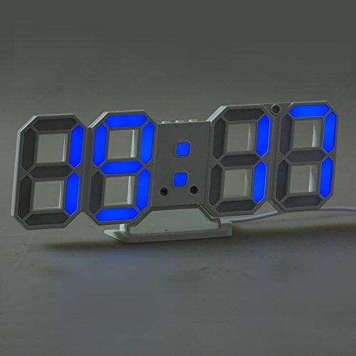 Digitale wanduhr, LED wanduhr, Timorn 3D LED Wecker mit 3 Einstellbarer Helligkeit, Digital uhr, Tischuhr digital (blau)
