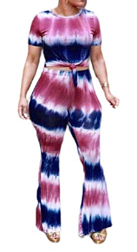 dahuo Damen Classic Zweiteilige Outfits Tie Dye Top Flared Bell Bottom Yoga Hose Gr. Large, 1 -