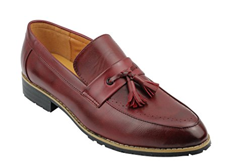 Xposed uomo, in pelle foderato marrone nero nappa mocassini scarpe casual slip on driving, rosso (burgundy), 40