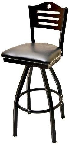 Oak Street Manufacturing SL2150-1S-SH-BLK Metal Frame Shoreline Wood Back Swivel Series Barstool with Black Vinyl Seat, 18