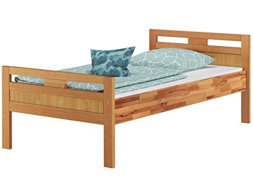 Erst-Holz® Massivholzbett Seniorenbett Buche Natur 90×200 Einzelbett Hohes Bett mit Rollrost 60.74-09
