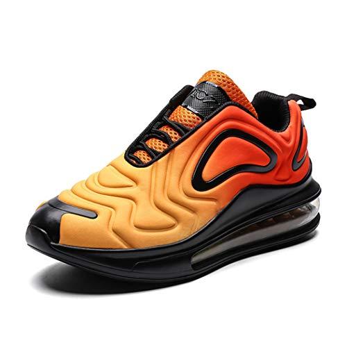 Veluckin Herren mit Luftpolster Sportschuhe Damen Orange Spitze Sneakers Air Leichte Schuhe Straßenlaufschuhe,Orange,46EU