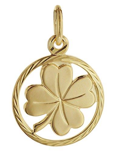 trendor Kleeblatt Glücksanhänger 585 Gold 12 mm 08622