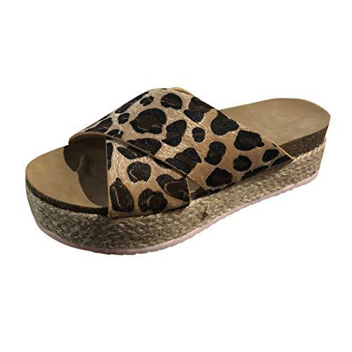 2019 Mujer Chanclas De Talla Grande, Sandalias Con Plataforma Cuña Alpargatas Leopardo Sandalias De Vestir Elegante Chic Antideslizante Zapatillas Zapato De Playa De Verano Primavera(Marron, 38)