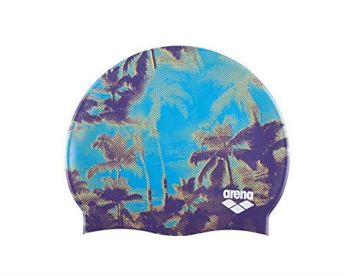 arena Unisex Bedruckte Silikon Badekappe, Unisex, Palms-Turquoise -